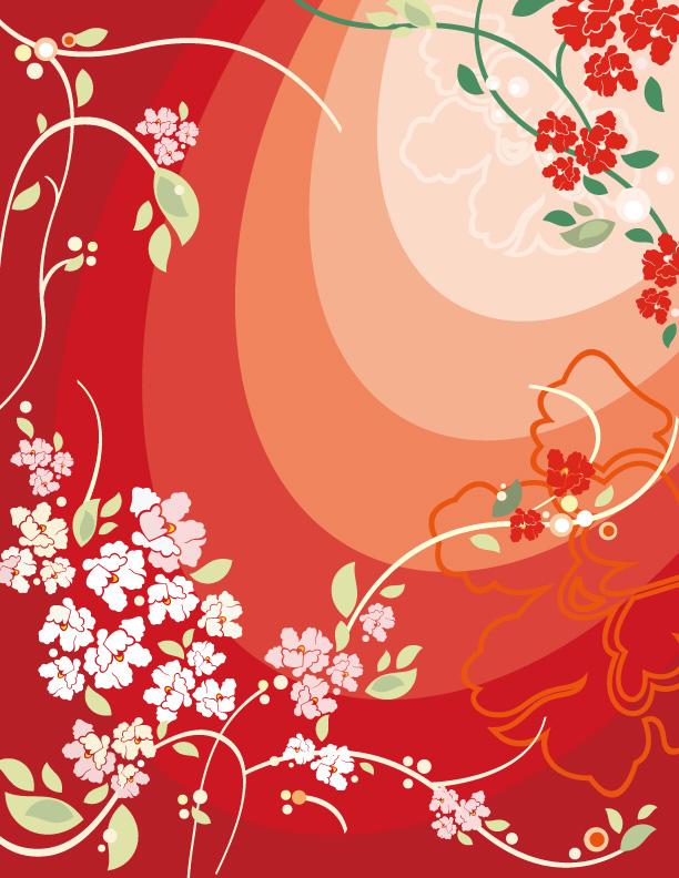 红色花朵矢量素材