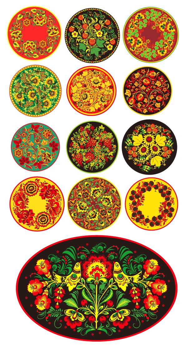 圆形古典花纹素材