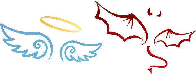 天使与魔鬼翅膀-卡通角色矢量图库-名片之家