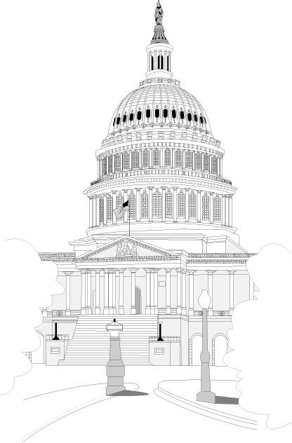 矢量白宫线描-建筑景观矢量图库-名片之家