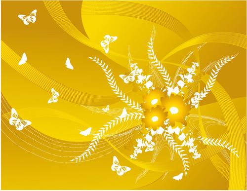 花朵蝴蝶动感线条素材