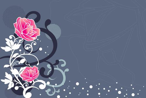 矢量玫瑰花纹