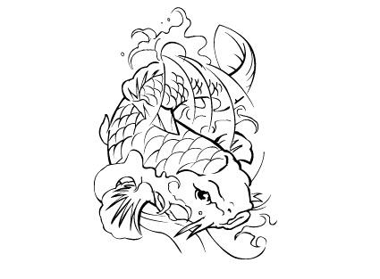 鲤鱼线描图案