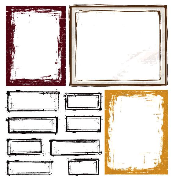 墨迹风格边框-花边矢量图库-名片之家