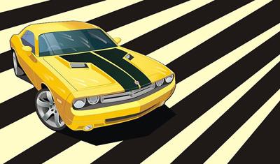 矢量黄色赛车