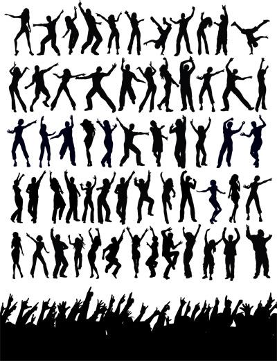 人物跳舞动作剪影-生活人物矢量图库-名片之家
