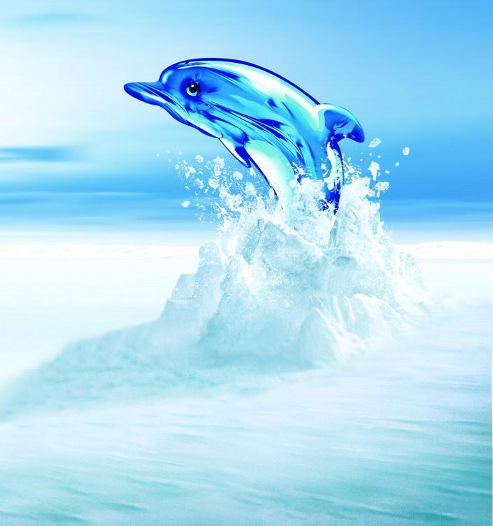 跳跃水晶海豚素材