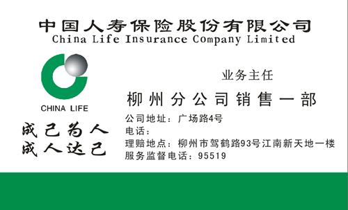 中国人寿保险股份有限公司名片模板免费下载图片