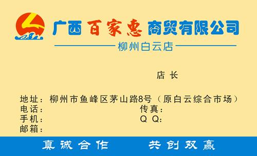 名片设计之家 仿制名片模板 综合商店名片  广西百家惠商贸有限公司
