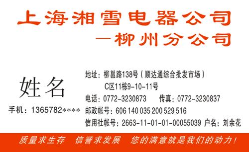 上海湘雪电器公司名片模板