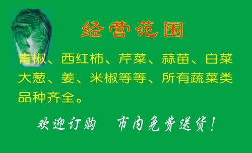 柳州市桂中新鲜蔬菜配送中心名片设计欣赏